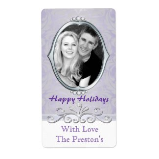 Purple Vintage Victorian Photo Holiday Gift Label
