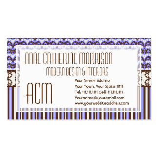 Purple Vintage Victorian Wild West Elegant Damask Double-Sided Standard Business Cards (Pack Of 100)