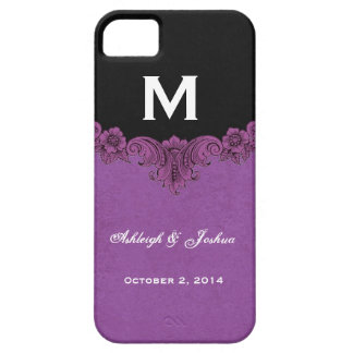 Purple Vintage Wedding Custom Monogram Celebration iPhone 5 Case