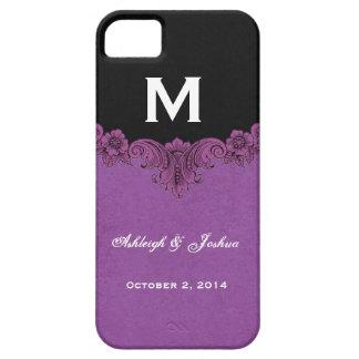 Purple Vintage Wedding Custom Monogram Celebration iPhone SE/5/5s Case