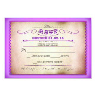 Purple vintage wedding RSVP cards - tickets