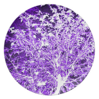 Purple Violet Abstract Tree Branches Plate