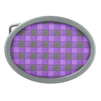 Purple Violet and Black Plaid Check Belt Buckle