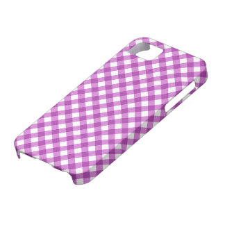 Purple violet and white checkered gingham pattern iPhone SE/5/5s case