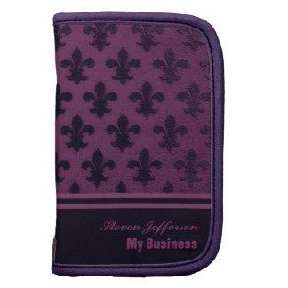 Purple violet aubergine royal fleur de lis pattern organizers