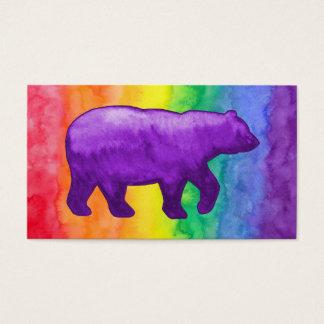 Purple Violet Bear on Rainbow Wash Business Card