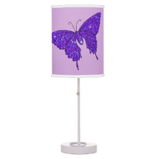 Purple Violet Butterfly Sparkly Glitter Fun Girly Desk Lamp