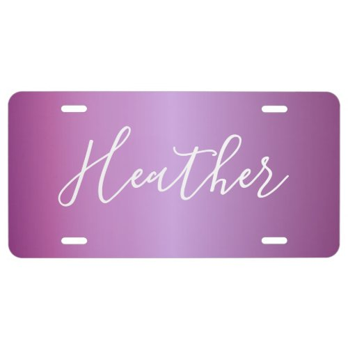 Purple Violet  Custom White Script License Plate