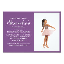 Purple / Violet Dance Recital Photo Invite