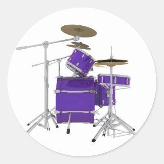 Purple / Violet Drum Kit: Classic Round Sticker
