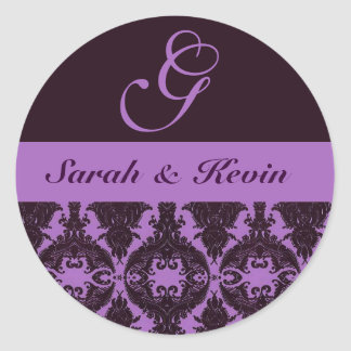 purple-violet_filigree, Sarah y Kevin, G Pegatina Redonda