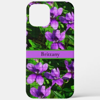 Purple Violet Floral Custom Name Mosaic Pattern Case-Mate iPhone Case by Sandyspider