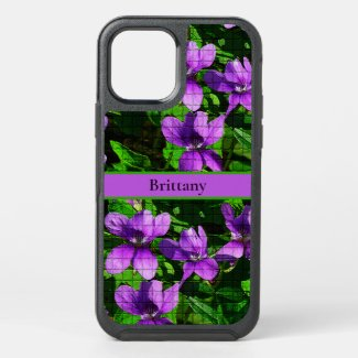 Purple Violet Floral Custom Name Mosaic Pattern OtterBox iPhone Case by Sandyspider