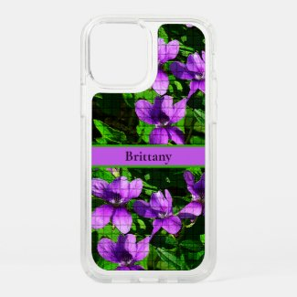 Purple Violet Floral Custom Name Mosaic Pattern Speck iPhone Case by Sandyspider