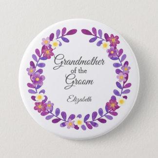 Purple / Violet Floral Grandmother of  Groom Button