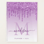 "Purple Violet Glitter Drips Girly Monogram 2021 Planner<br><div class=""desc"">Modern Glam Purple Violet Lavender Plum Glitter Drips Girly Feminine Luxury Monogram Script Name 2021 Planner</div>"