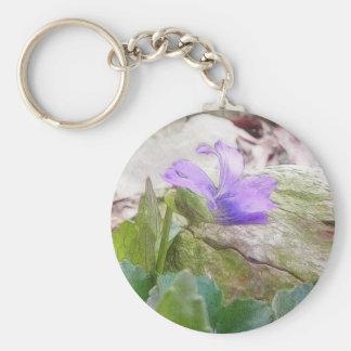 Purple Violet In The Rock Garden Keychain