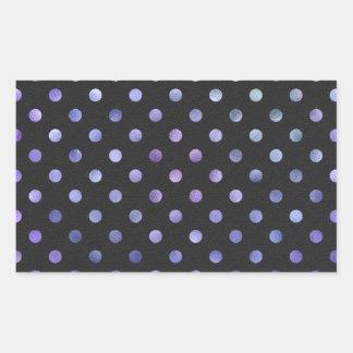 Purple Violet Metallic Faux Foil Polka Dot Black Rectangular Sticker
