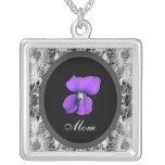 Purple Violet Mom Square Pendant Necklace