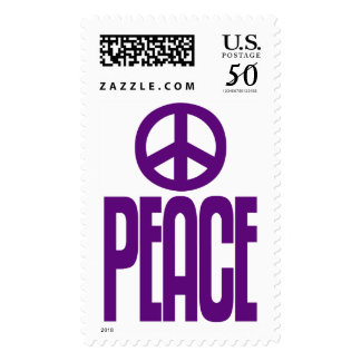 Purple Violet Peace Sign & Text, Postage Stamp