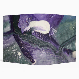 Purple violet turquoise abstract paint line waves 3 ring binder