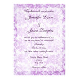 Purple Violet Vintage Damask Wedding Invitations