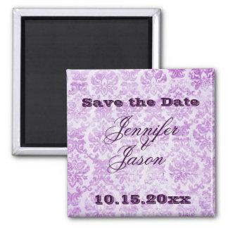 Purple Violet Vintage Damask Wedding Invitations 2 Inch Square Magnet