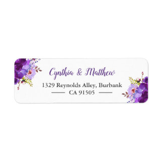 Purple Violet Watercolor Painting Flowers Label