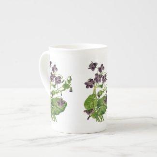 Purple Violets Botanical Bone China Mug