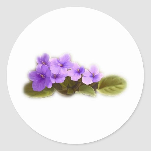 purple violets - customizable round sticker