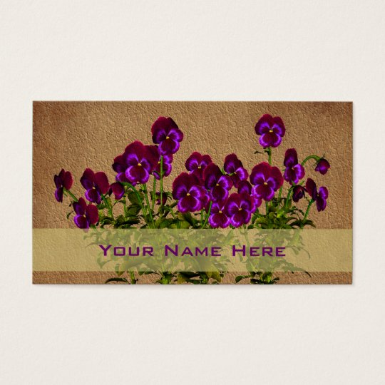 Purple Violets Floral Art Business Card