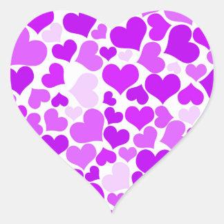 Purple Violets Hearts Patterns Romantic Pretty Heart Sticker