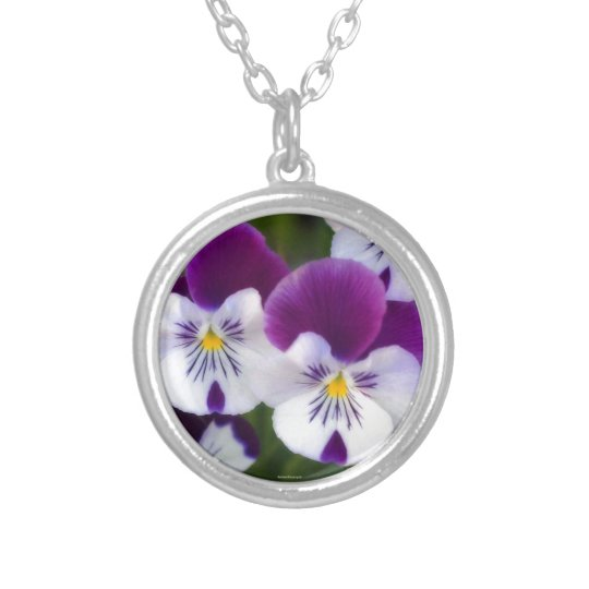 Purple Violets Silver Plated Necklace