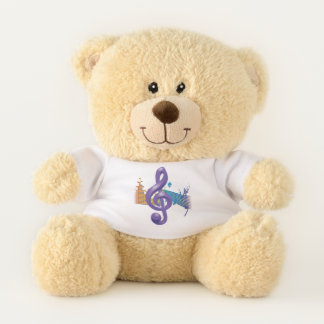 Purple Violin Key Teddy Bear