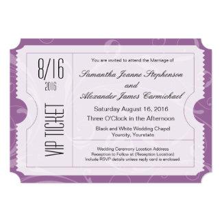 "Purple VIP Wedding Ticket Invitations 5"" X 7"" Invitation Card"