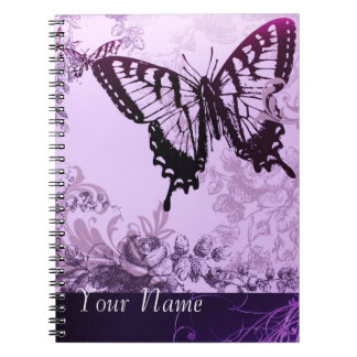 Purple Vnitage Butterfly Personalized NoteBook