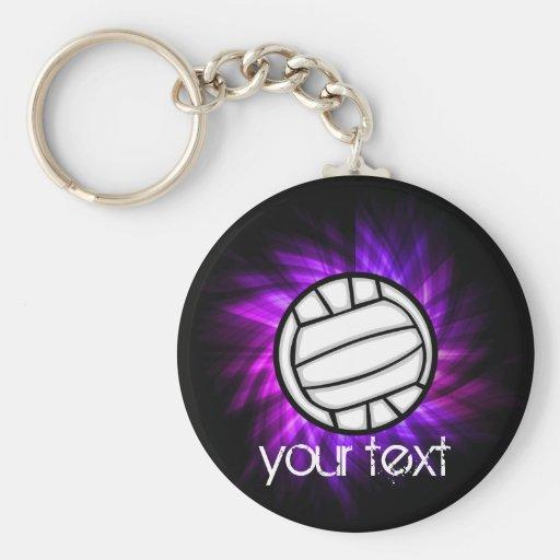 Purple Volleyball Basic Round Button Keychain