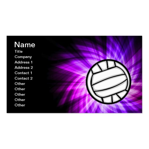Purple Volleyball Double-Sided Standard Business Cards (Pack Of 100)