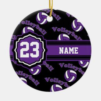 Purple Volleyball Ceramic Ornament