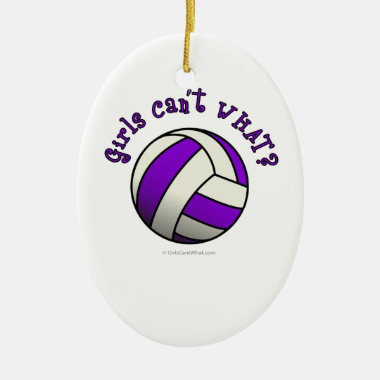 Purple Volleyball Ceramic Ornament