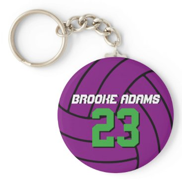 Beach Themed Purple Volleyball Sports Team Athletes Keychain