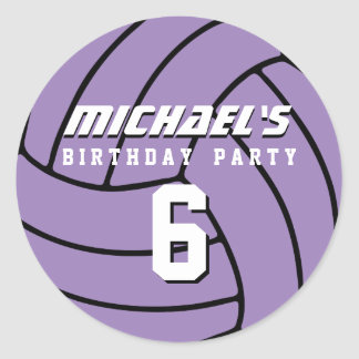 Purple Volleyball Sticker Sports Birthday Party