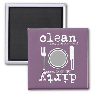Purple w/Dishes Clean or Dirty Dishwasher Magnet