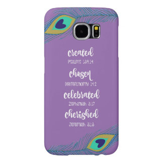 Purple w/Peacock Feathers Affirmation Scripture Samsung Galaxy S6 Case