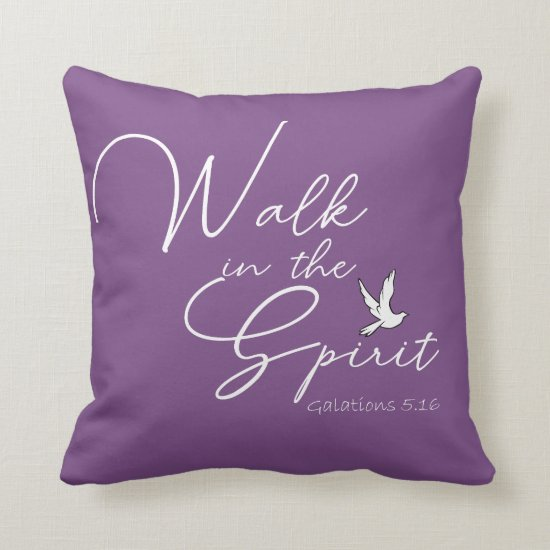 Purple Walk in the Spirit Bible Verse Throw Pillow