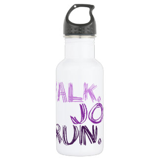 PURPLE WALK JOG RUN (font SCRIBBLE) Stainless Steel Water Bottle