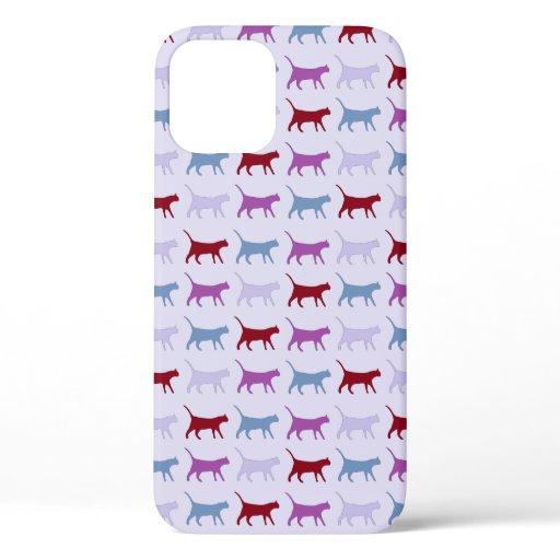 Purple Walking Cat Pattern iPhone 12 Case