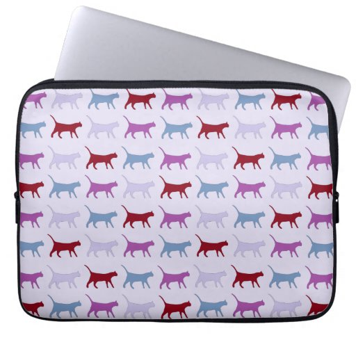 Purple Walking Cat Pattern Laptop Sleeve