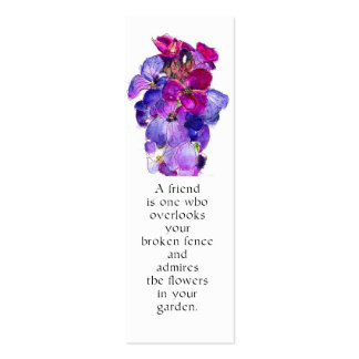 Purple Wallflower Bookmark Double-Sided Mini Business Cards (Pack Of 20)