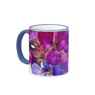 Purple Wallflower Ringer Mug mug